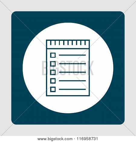 Notebook Icon, On Blue Background, White Circle Border, Blue Outline