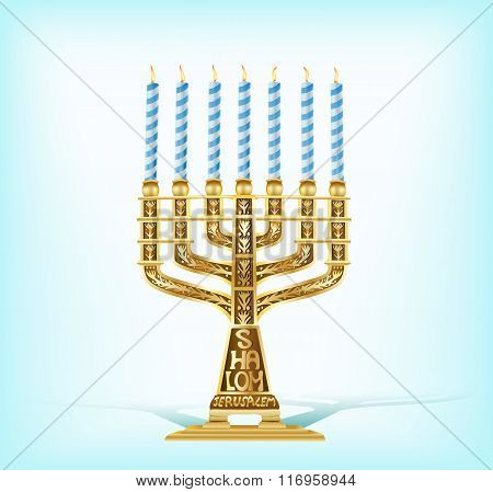 Golden Menorah With Seven Blue Candles