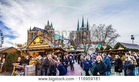 People Visit Famous Christkindl Market In Erfurt At Dome Hill