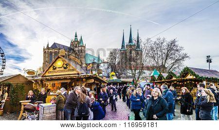 People Visit Famous Christkindl Market In Erfurt At Dome Hill