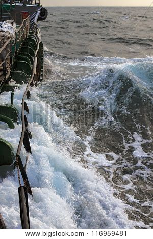tanker sails on the stormy sea