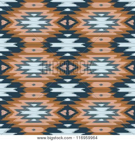 Vector seamless ikat ethnic pattern. Boho style