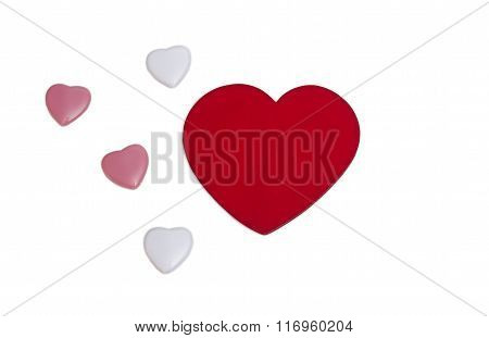 A Lot Of Different Hearts On A String. Isolated