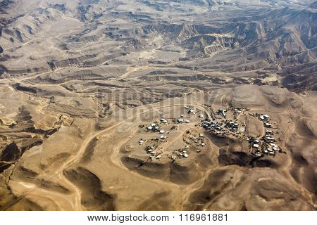 Small Town On Negev Desert Seen From Above, Israel