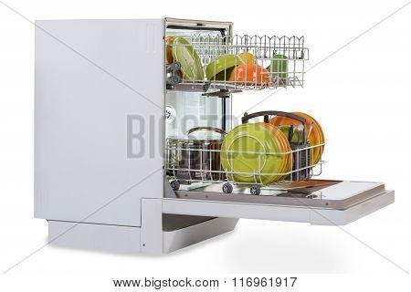 Dishwasher Against White Background