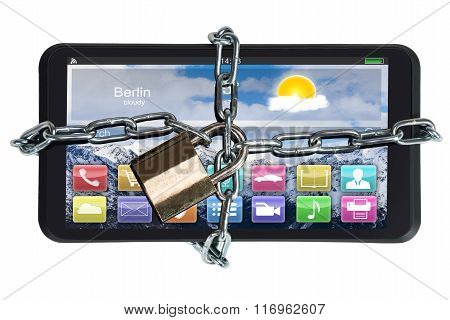 Digital Tablet Trapped With Padlock And Chain