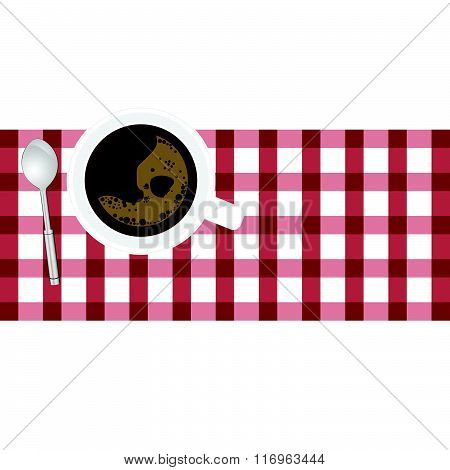Cup Of Coffe Aroma On Tablecloth Illustration