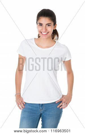 Beautiful Young Woman Wearing Blank White Tshirt