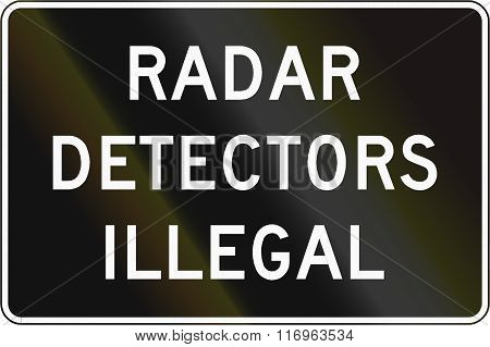 Road Sign Used In The Us State Of Virginia - Radar Detectors Illegal