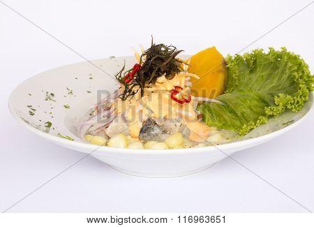 Peruvian food: Fish ceviche in rocoto cream.