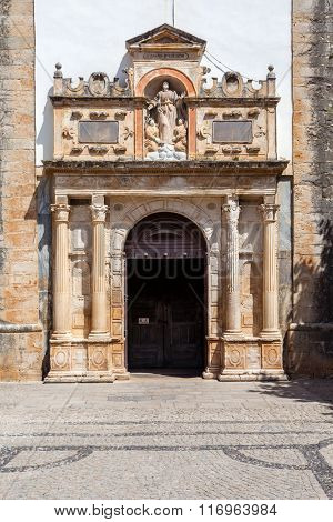 Obidos, Portugal. The Renaissance Portal of the medieval Church of Santa Maria. Obidos is a medieval town inside walls, and very popular among tourists.