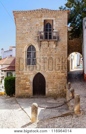 Obidos, Portugal. Medieval Sephardic Synagogue dated from the 14th or 15th century. Obidos is a medieval town inside walls, and very popular among tourists.