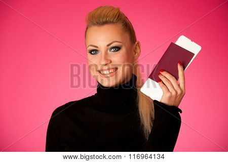 Woman Standing With Travell Documents Excited To Go On Vacations.