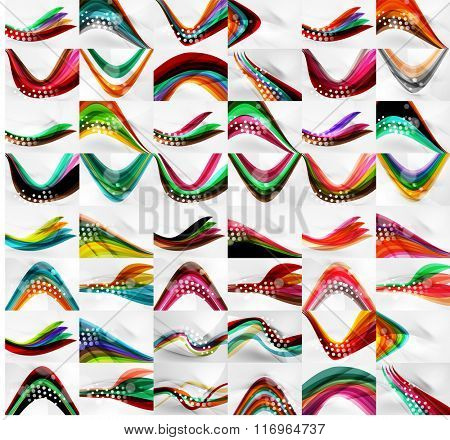 Set of blurred flowing waves backgrounds