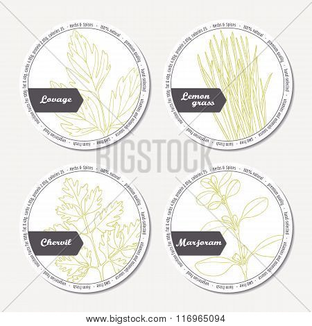 Set of stickers for package design with lovage, lemongrass, chervil, marjoram