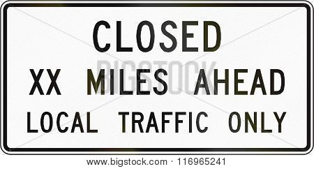 Road Sign Used In The Us State Of Virginia - Closed