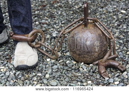 Ball And Chain On Leg