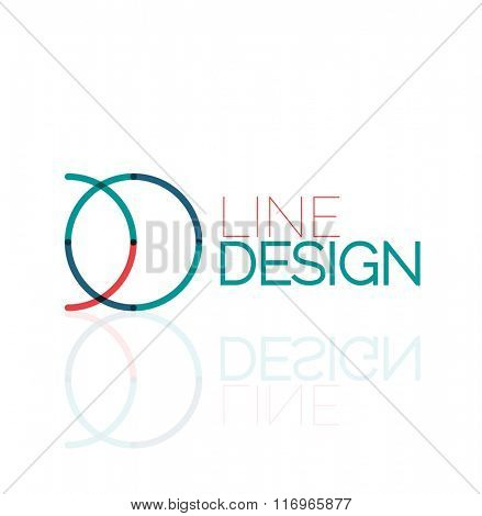 Vector swirl and circles outline minimal abstract geometric logo