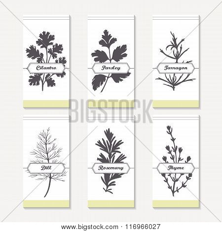 Spicy herbs silhouettes collection. Hand drawn cilantro, parsley, tarragon, dill, rosemary, thyme