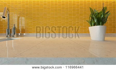 Yellow Ceramic Modern Kitchen Design Background With Kitchen Marble Desk Space For Your Design
