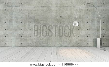 Concrete Wall Loft Style Decor With Floor Light, Background, Template Design