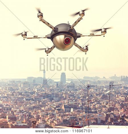 spy drone and urban background