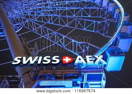 HONG KONG - JANUARY 25, 2016: Ferris Wheel in Hong Kong at night. The Hong Kong Observation Wheel is located in Central, Hong Kong.