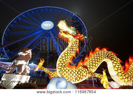 HONG KONG - JANUARY 25, 2016: area around Ferris Wheel in Hong Kong at night. The Hong Kong Observation Wheel is located in Central, Hong Kong.