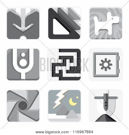 Set of isolated vector icons for your application.
