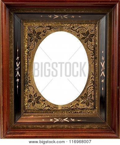 Vintage wooden frame with metal insert