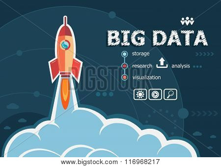 Big Data Concept On Background With Rocket.
