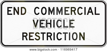 Road Sign Used In The Us State Of Virginia - End Commercial Vehicle Restriction