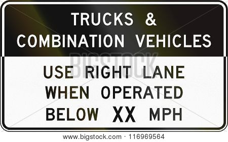 Road Sign Used In The Us State Of Virginia - Trucks And Combination Vehicles