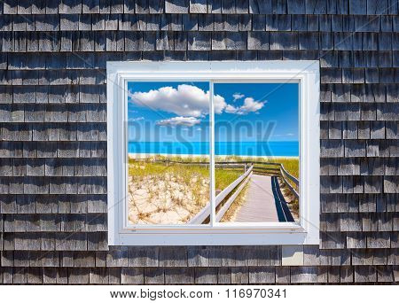 Cape Cod window photomount Massachusetts USA [Photo illustration]