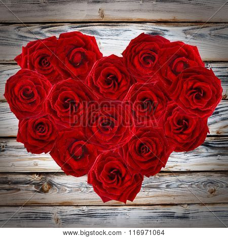 Valentines Day heart made of red roses