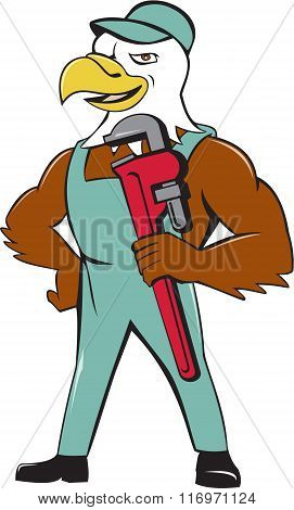 Bald Eagle Plumber Monkey Wrench Cartoon