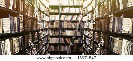 Library bookshelves background