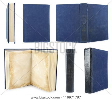 Old books isolated on white in collage