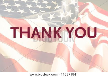 Text Thank You on American flag background