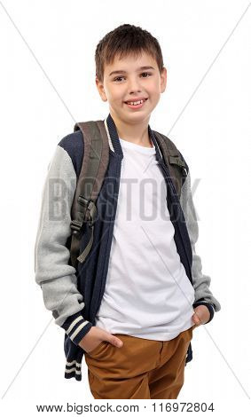Cute little boy with grey backpack, isolated on white