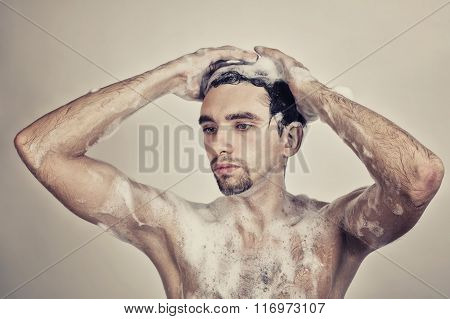 Naked Man In Foam
