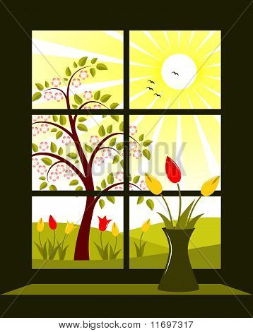 Spring Landscape Outside Window