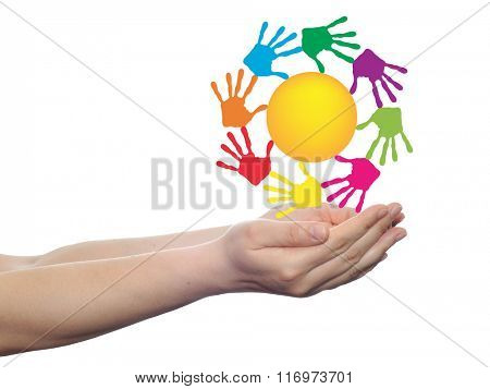 concept conceptual yellow happy abstract sun with children hand print spiral or circle isolated on white background