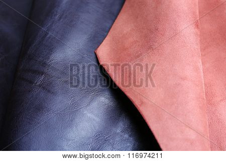 Black-brown leather front and wrong side texture background