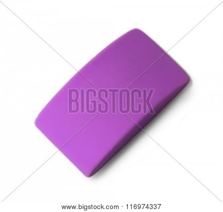 Purple eraser, isolated on white background