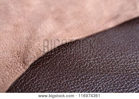 Brown leather front and wrong side texture background