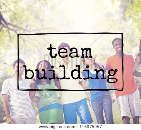 Team Building Team Up Collaboration Support Concept