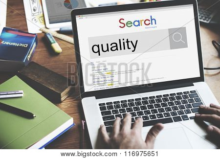 Quality Excellence Guarantee Level Value Worth Concept