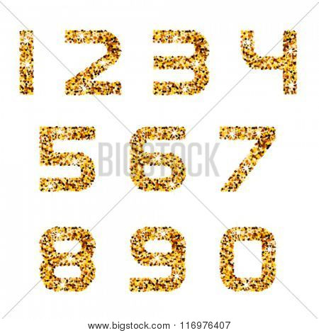 vector golden sparkles font numbers