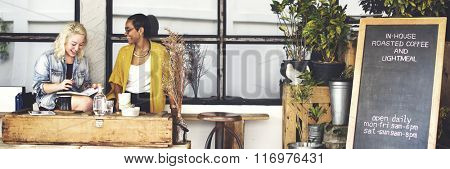 Cafe Drinking Outdoor Resting Together Leisure Concept